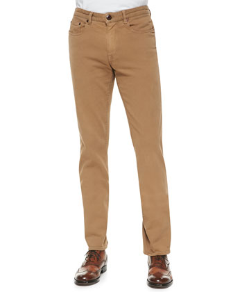 5-Pocket Twill Pants, Khaki
