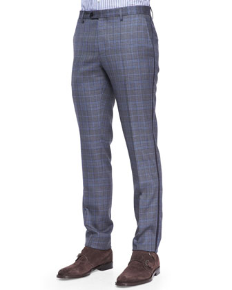 Grosgrain-Trim Check Pants