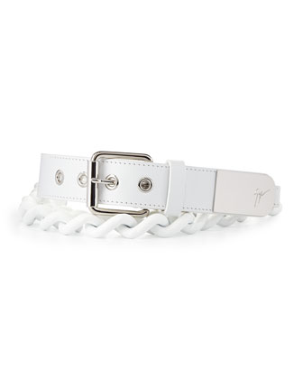 Men's Leather Chain Grommet Belt, White