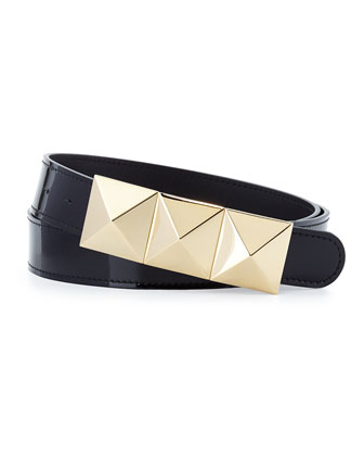 Men's Patent Pyramid-Buckle Belt