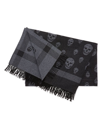 Wool Skull-Design Blanket Scarf, Black/Gray