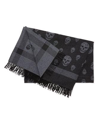 Wool Skull-Design Blanket Scarf, Black/Gray