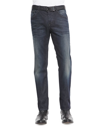 Boot-Print Cotton Duke Shirt & Stone Washed Resin Coated Denim Jeans