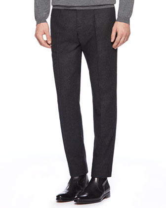 Stretch Flannel 60s Sport Pants, Charcoal
