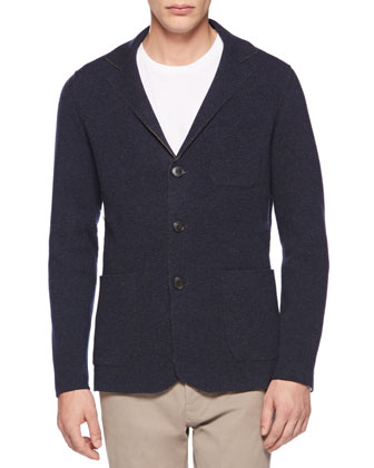 Wool-Cashmere Knit Blazer, Navy