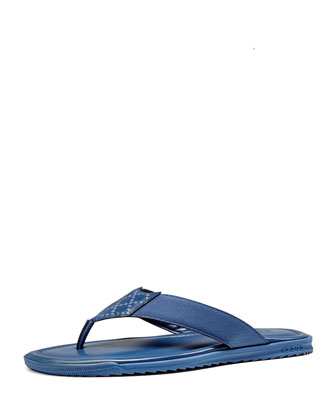 Diamante Leather Thong Sandal, Blue
