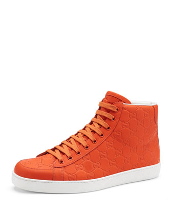 Brooklyn Guccissima High-Top Sneaker, Orange
