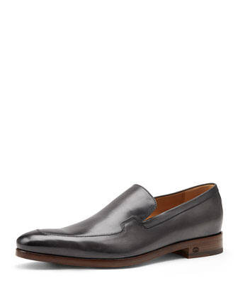 Shaded Leather Loafer, Dark Gray