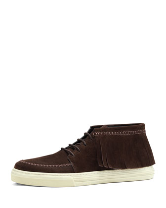 Suede Fringed Sneaker, Cocoa
