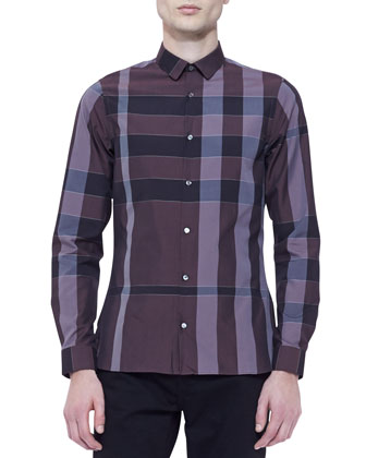 Long-Sleeve Check Shirt, Deep Red