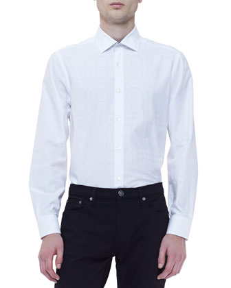 Long-Sleeve Check Shirt, White