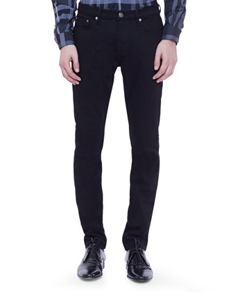Straight-Leg Denim Jeans, Black