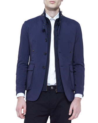 Jacket with Buckle Collar, Long-Sleeve Check Shirt & Straight-Leg Denim Jeans