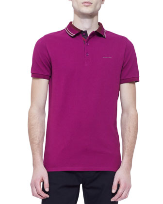 Short-Sleeve Striped Collar Polo Shirt, Dark Pink