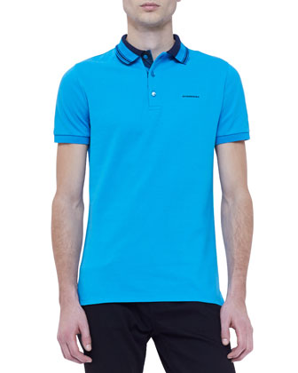 Short-Sleeve Striped Collar Polo Shirt, Blue