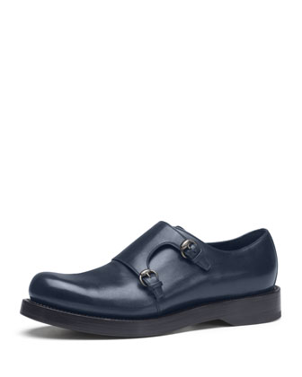 Leather Monk Strap Shoe, Navy