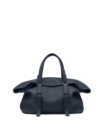 Leather Top Handle Duffle Bag, Navy