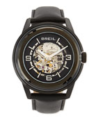 Orchestra Leather-Strap Skeleton-Dial Watch