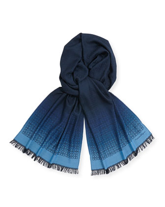 Men's Ombre Gancini Silk Scarf, Blue/Navy