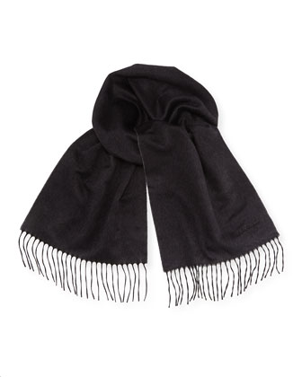 Reversible Cashmere Scarf, Light Gray/Dark Gray