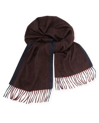 Stripe Cashmere Scarf, Bordeaux/Navy