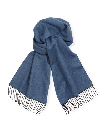 Men's Reversible Cashmere Scarf, Dutch Blue/Royal