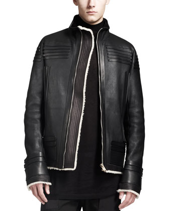 Shearling Trimmed Leather Biker Jacket, Black