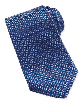 Gancini-Pattern Woven Tie, Blue/Pink