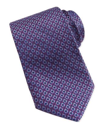 Gancini-Pattern Woven Tie, Purple