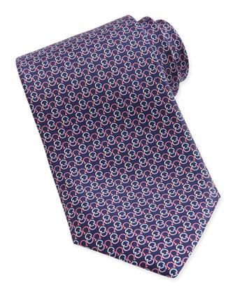 Interlock Gancini Woven Tie, Blue/Pink