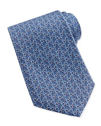 Interlock Gancini Woven Tie, Blue