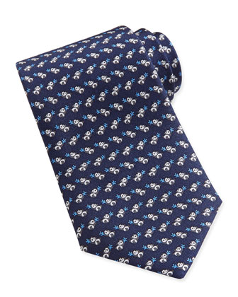 Panda-Print Woven Tie, Blue/Navy