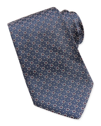 Floral-Pattern Woven Tie, Dark Green
