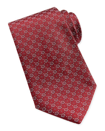 Floral-Pattern Woven Tie, Dark Red
