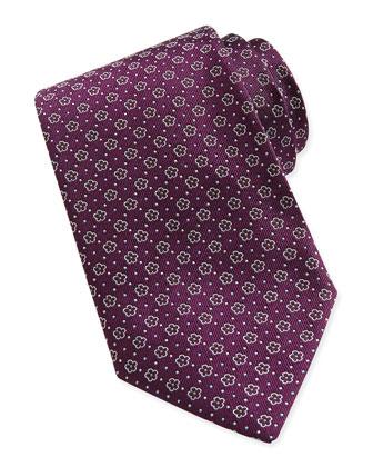 Floral-Pattern Woven Tie, Plum