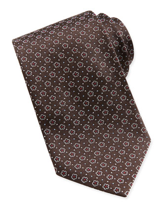 Floral-Pattern Woven Tie, Brown/Red