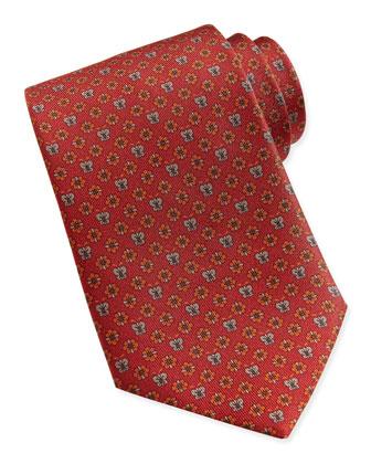 Butterfly/Flower Woven Tie, Orange