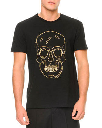 Embroidered-Skull Short-Sleeve Tee
