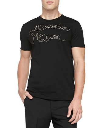 Zipper-Logo Printed Tee, Black