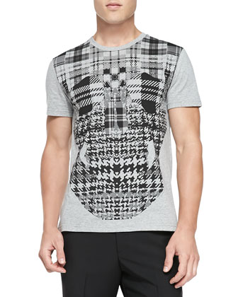 Plaid-Skull Jersey Tee, Gray