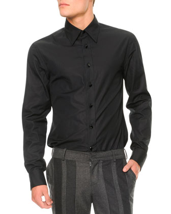 Jewel-Button Long-Sleeve Shirt, Black