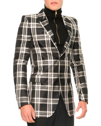 Large Plaid Two-Button Blazer