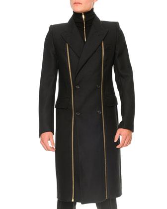 Panama Wool Zipper-Detail Coat