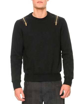 Golden-Zipper Detail Jersey Sweatshirt