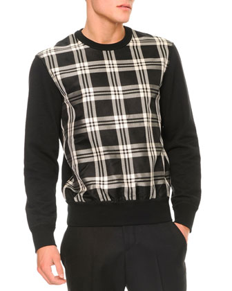 Plaid-Front Pullover Sweater, Black/White