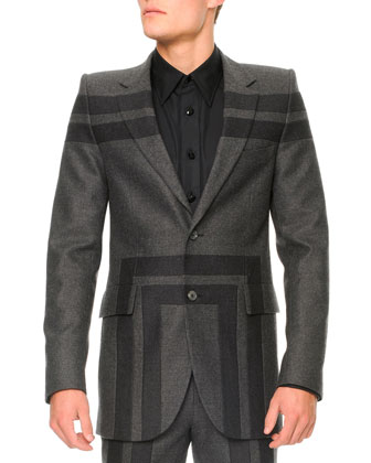 Wool Geometric-Detail Jacket, Gray