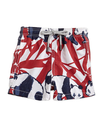 Panda-Print Boys' Swim Trunks, Red/White/Navy, Sizes 2-6