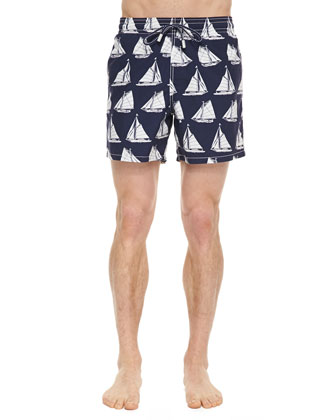 Moorea Sailboat-Print Swim Trunks, Navy