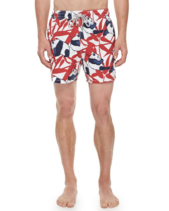 Men's Panda-Print Moorea Swim Trunks, Red/White/Navy