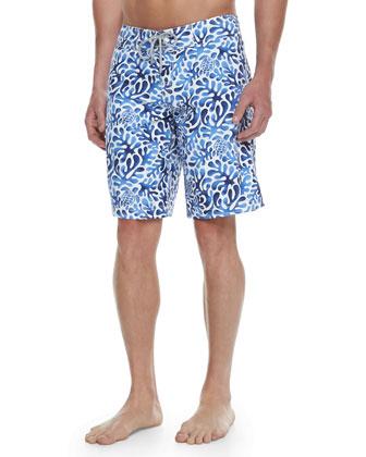 Ocean Turtle/Coral Printed Boardshorts, Blue